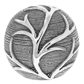 Leaf Decor Ball Gunmetal Ornament