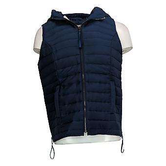 Lisa Rinna Collection Women's Puffer Vest Side Zipper Detail Blue A344908