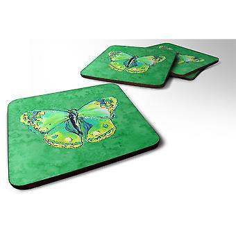Caroline'S Treasures 8863Fc Butterfly Green On Green Foam Coasters (Set Of 4), 3.5 H X 3.5 W, Multicolor