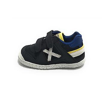 Shoes Baby Munich Baby Goal Sneaker With Suede Strap/ Navy Blue Fabric Zs21mu06 1506