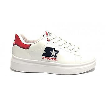 Men's Starter Sneaker In Faux Leather White Color/ Red U20st01