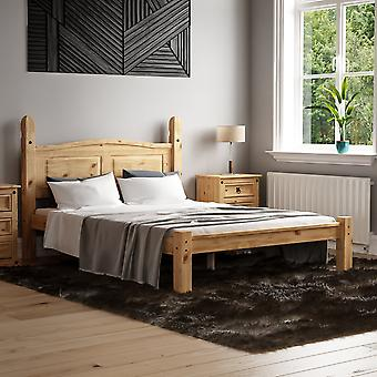 Corona Double Bed Low Foot End 4ft6 Mexican Solid Waxed Pine