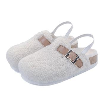 Kids Fur Slides Indoor Shoes Warm House Slippers Non-slip Casual Floor Shoes