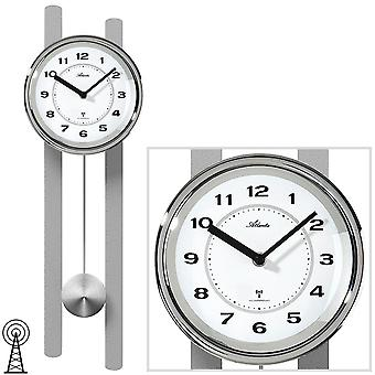 Horloge murale d'Atlanta 5105/19 horloge radio-murale avec pendule argent pendule
