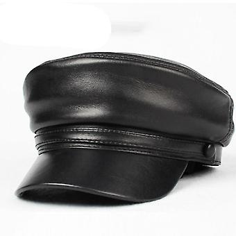 Leather Military Hat Cap Black
