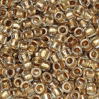 Toho-siemenet, pyöreä 8/0 #989 'kulta vuorattu kristalli', 8 grammaa
