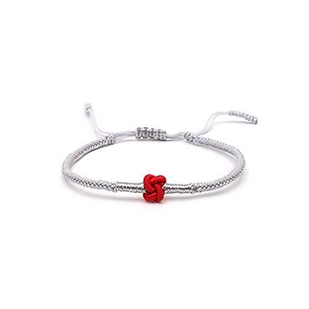 Benava, handmade red grey lucky charm Tibetan Buddhist bracelet