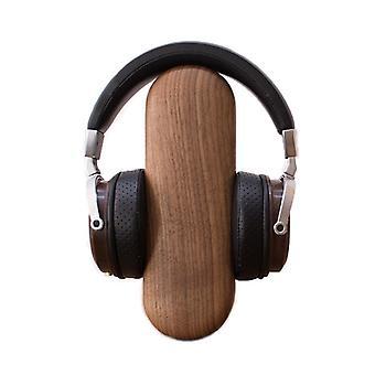 Øretelefon beslag sort valnød massivt træ øretelefon rack hovedbeklædning