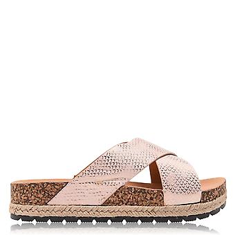 Savanna Womens Cross Over Strapped Low Flatbed Mule Flat Sandals Shoes