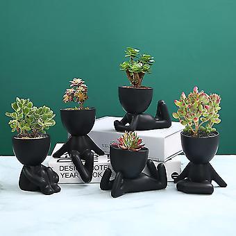 Mini-family Flowerpot Human Being Shape Ceramic Desktop Planter Container For Succulents(5pack)