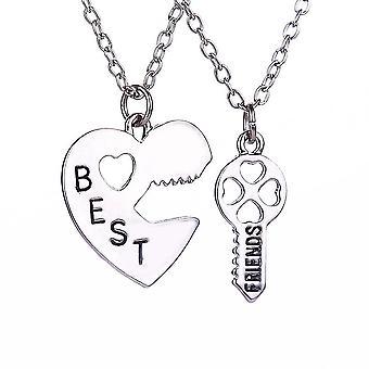 Kvinnor Halsband Set Peach Heart Stitching Key Lettering Bästa vänner hänge för daglig användning