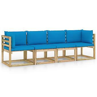 vidaXL 4-Sitzer-Gartensofa mit Hellblauen Kissen