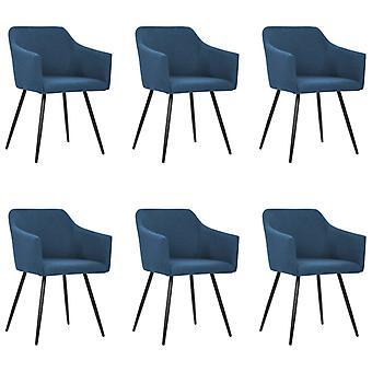 vidaXL chaises à manger 6 pcs. tissu bleu