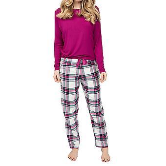 Cyberjammies Penny 4937 Femme Blanc Chèque Coton Pyjama Pantalon