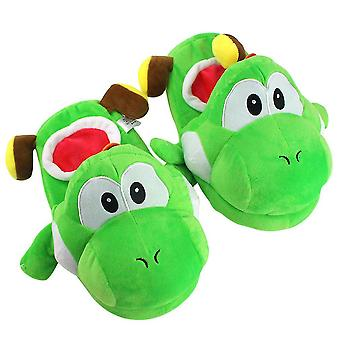Yoshi Mario Warm Lovely Anime Slippers Home Thickened Plush Slippers Green Free Size 30cm