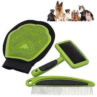 3 חלקים לחיות מחמד טיפוח ערכת ניקוי כלי חתול כלב מסיר שיער מסיר כפפות עיסוי מסרק