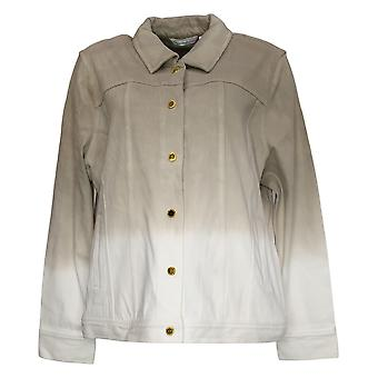 Isaac Mizrahi Live! Damen Dip Dye Button Front Strickjacke Grau A241123