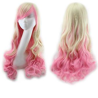 Wavy Multi-color Lolita Cosplay Party Wigyellow + Pink)