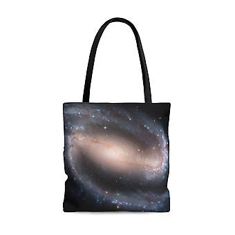 Premium polyester tote bag - galaxy image #105 barred spiral galaxy ngc 1300 | gift idea, gift for her, graphic tote bag, aesthetic tote