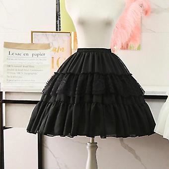 Lolita Cosplay Petticoats White Black Chiffon Lace Short
