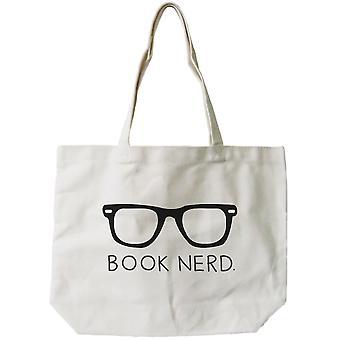 Livro Nerd Natural Canvas Tote Bag das mulheres - polegadas de 18.5x14.25 100% algodão