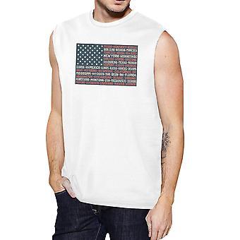 50 nos Estados de bandeira branca Mens músculo tampão superior manga para 4 de julho