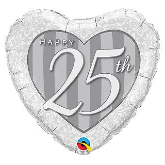 Qualatex 18 Inch Happy 25th Damask Heart Foil Balloon