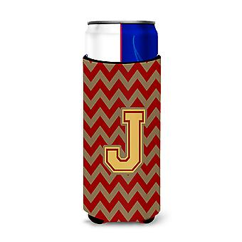 Letter J Chevron Garnet and Gold  Ultra Beverage Insulators for slim cans