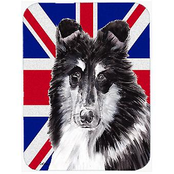 Black and White Collie with English Union Jack British Flag Glass Cutting Board