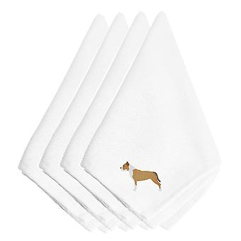 Staffordshire Bull Terrier Embroidered Napkins Set of 4