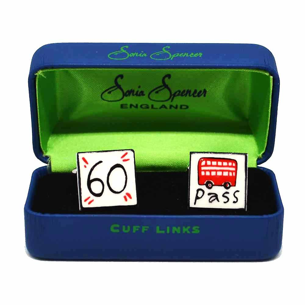 60 Bus Pass Cufflinks by Sonia Spencer, in Presentation Gift Box. Pension, Pensioner