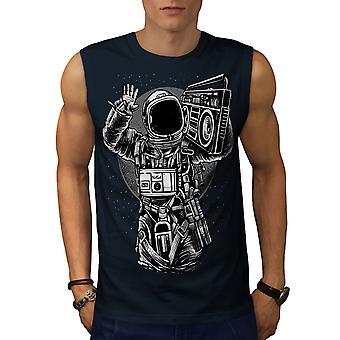 宇宙の音楽クールなファッション男性 NavySleeveless t シャツ |Wellcoda