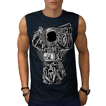 Space Music Cool Fashion Men NavySleeveless T-shirt | Wellcoda