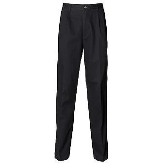 Henbury Mens Teflon Coated Pleated Chino Trousers