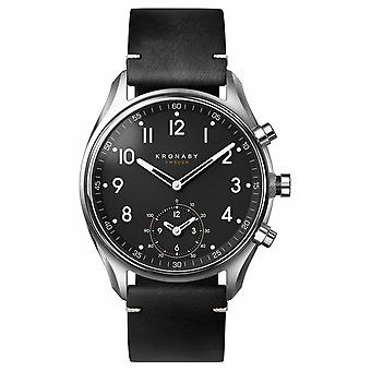 Kronaby 43mm APEX Bluetooth Black Leather Strap A1000-1399 S1399/1 Watch