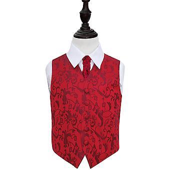 Burgunder Floral bryllup vest & Cravat sett for gutter