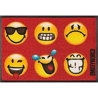 wash+dry Fußmatte Smiley Faces lustige waschbare Fußmatte