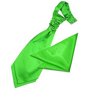 Apple Green Plain Satin Hochzeit Cravat & Einstecktuch für jungen eingestellt
