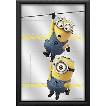 Despicable me 3 mirror minions wired color printed, plastic framing black, wood look.