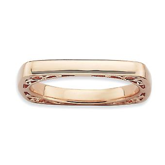 2.25mm 925 Sterling Silver Stackable Expressions Polished Pink plaque Square Ring Jewelry Gifts for Women - Ring Size: 5
