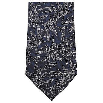Knightsbridge Krawatten Blatt Muster Krawatte - Navy