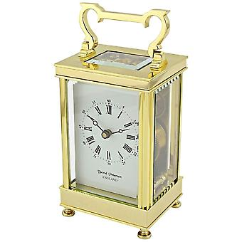 David Peterson Captains 8 Day Mechanical Carriage Clock - Gold