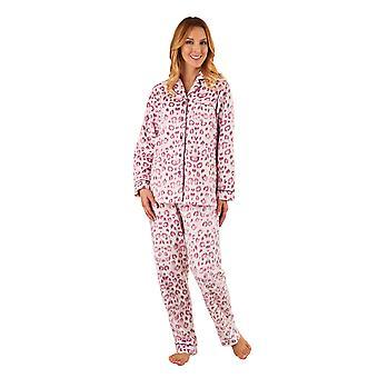Slenderella PJ8311 Women's Pink Animal Print Pajama Long Sleeve Pyjama Set