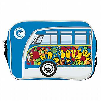 Offisielle VW Bobil Van Messenger skulder Bag - blå Flower Power