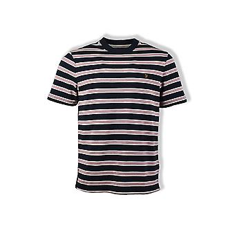 Farah Willem Stripe Crew-Neck T-Shirt (True Navy Marl)