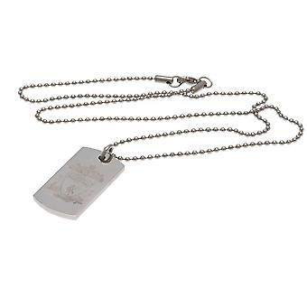 Liverpool FC Engraved Crest Dog Tag And Chain