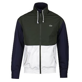 Lacoste Doubleneck vandtæt hvid & grøn Zip jakke