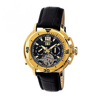 Heritor Automatic Lennon Semi-Skeleton Leather-Band Watch - Gold/Black