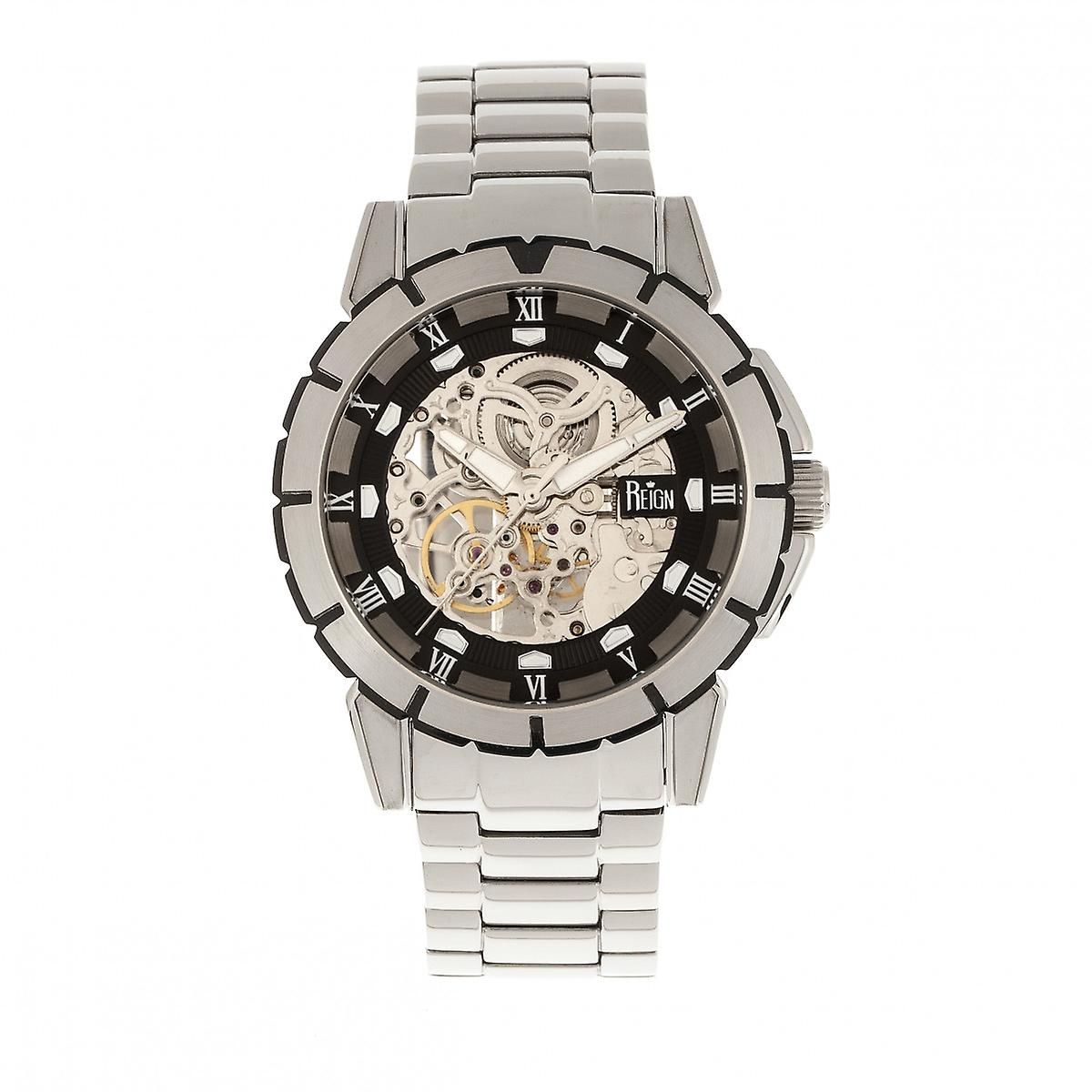 Reign Philippe Automatic Skeleton Bracelet Watch - Silver/Black