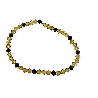 Donkere Jonquille kristallen & Jet rekbare armband met Swarovski kristallen